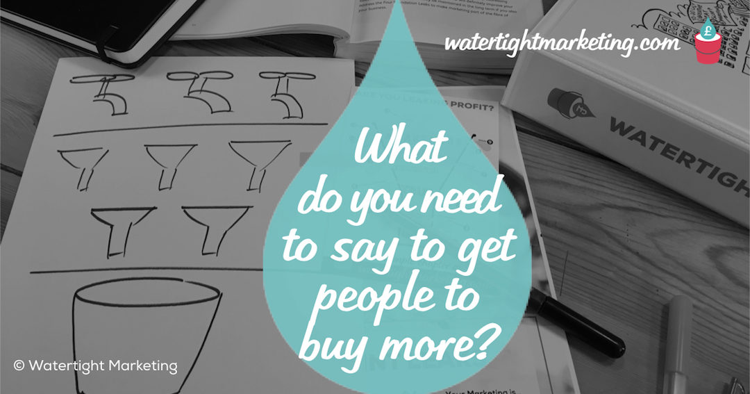 What do you need to say to get people to buy more?